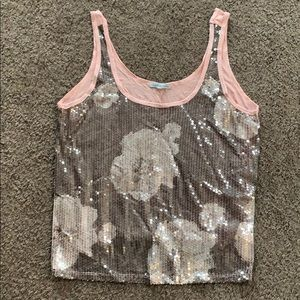 Charlotte Russe Sequin Floral Tank Top